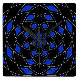 Wand-Uhr mit schwarzem blauem abstraktem Entwurf Quadratische Wanduhr