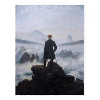Wanderer über dem Meer des Nebels Postkarte