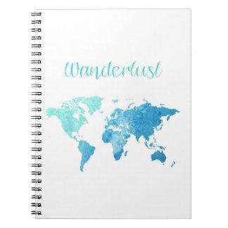 Wanderlust-Aquarell-Notizbuch Spiral Notizblock
