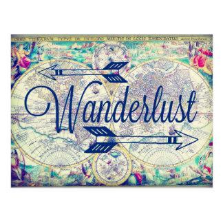 Wanderlust-Vintage Karten-Reise-Postkarte Postkarte