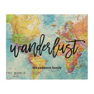 Wanderlust-Weltkarte-Wand-Kunst - Gewohnheit Holzdruck