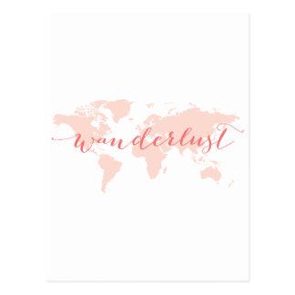 Wanderlust, Wunsch zu reisen, Weltkarte Postkarte