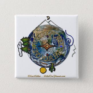 Wandern Sie das Soul-Kompass-Erde unseres Quadratischer Button 5,1 Cm