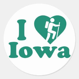 Wanderung Iowa Runder Aufkleber