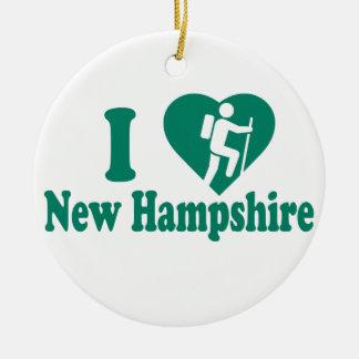 Wanderungs-New Hampshire Rundes Keramik Ornament