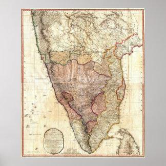 Wandkarte 1793 Williams Faden von Indien Poster