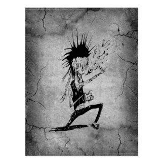 Wandschwarzgrau des coolen Punkzombies graues Postkarte