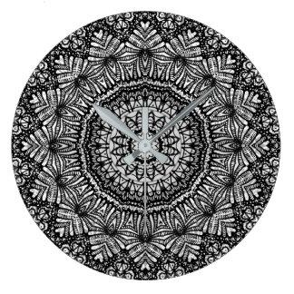 Wanduhr-Mandala Mehndi Art G444 Große Wanduhr