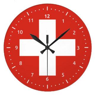 Wanduhr mit Flagge von der Schweiz