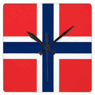Wanduhr mit Flagge von Norwegen