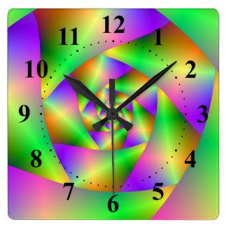 Wanduhr-psychedelische Spirale Quadratische Wanduhr