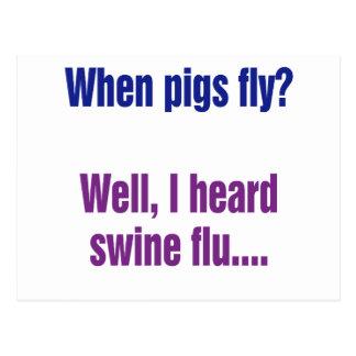 Wann fliegen Schweine? Postkarte