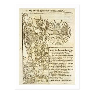 Wanne, der universelle Gott und die Elemente er Postkarte