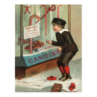 Wanted - A Boy To Lick Christmas Candy Cane Postkarte