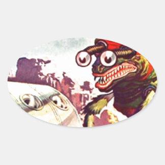 Wanzen-mit Augen Monster Ovaler Aufkleber