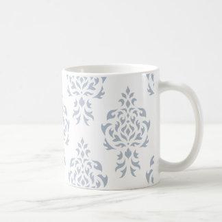 Wappen-Damast-Muster Grau-Blau Kaffeetasse