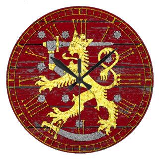 Wappen Finnland Ihr Farbholz Große Wanduhr