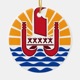 Wappen, Französisch-Polynesien Polynésie Française Rundes Keramik Ornament