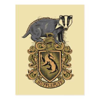 Wappen Harry Potter | Hufflepuff mit Dachs Postkarte
