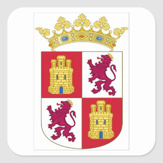 Wappen Kastiliens y Leon (Spanien) Quadratischer Aufkleber