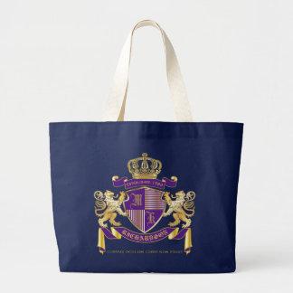 Wappen Monogramm-Emblem-goldenes Löwe-Schild Jumbo Stoffbeutel