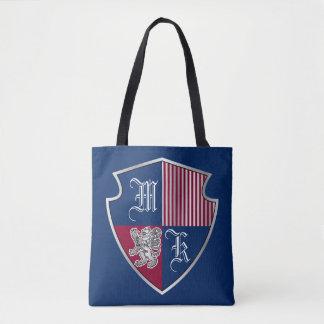 Wappen Monogramm-Emblem-Silber-Löwe-Schild Tasche