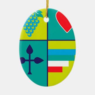 Wappen Trauben und Herzschild Keramik Ornament