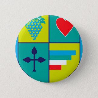 Wappen Trauben und Herzschild Runder Button 5,7 Cm