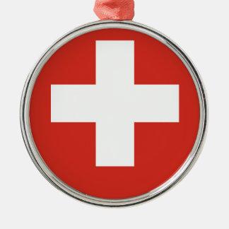 Wappen von die Schweiz - Wappen der Schweiz Rundes Silberfarbenes Ornament
