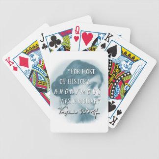 War ein Zitatblau Frau ~ Virginias Woolf anonym Bicycle Spielkarten
