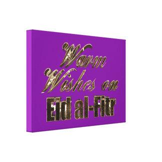 Wärmen Sie Wünsche auf Eid Al-Fitr lila Leinwanddruck