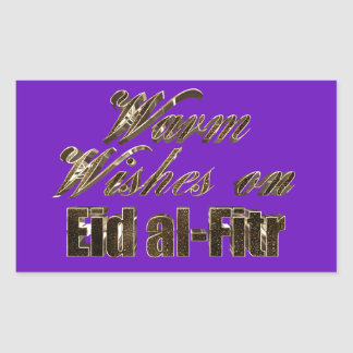 Wärmen Sie Wünsche auf Eid Al-Fitr lila Rechteckiger Aufkleber