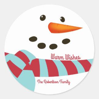 Wärmen Sie Wünsche, Schneemann-Feiertag Runder Aufkleber