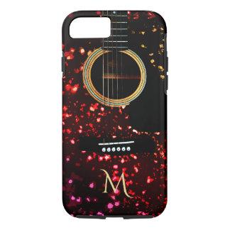 Warmer dunkler Glittery Gitarren-Monogramm iPhone iPhone 8/7 Hülle