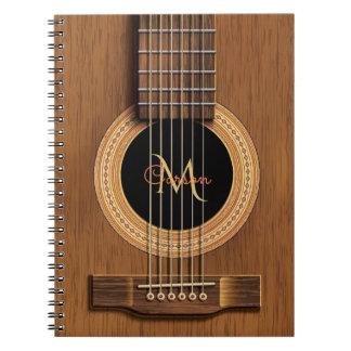 Warmes hölzernes Akustikgitarre-Notizbuch Spiral Notizblock