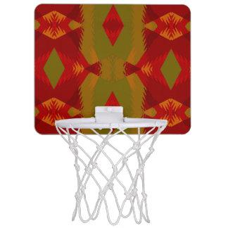 Warmes Retro Muster im olivgrünen Goldrot Mini Basketball Ring