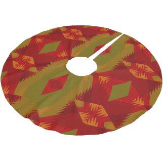 Warmes Retro Muster im olivgrünen Goldrot Polyester Weihnachtsbaumdecke