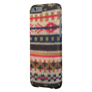 Warmes Strickjacke-Muster rotes blaues iPhone 6/6s Barely There iPhone 6 Hülle