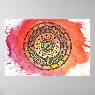 Warmes Sun-Mandala-Plakat Poster