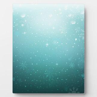 Warmes Winter-Märchenland mit Schneeflocken Fotoplatte