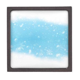 Warmes Winter-Märchenland mit Schneeflocken Schmuckkiste