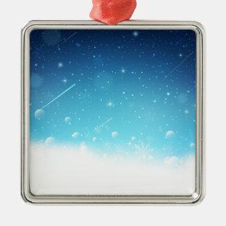 Warmes Winter-Märchenland mit Schneeflocken Silbernes Ornament