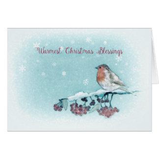Wärmster Weihnachtssegen, Aquarell, Robin Karte