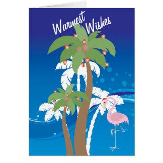 Wärmster Wunsch-Palme-Strand-Weihnachtsfeiertag Karte