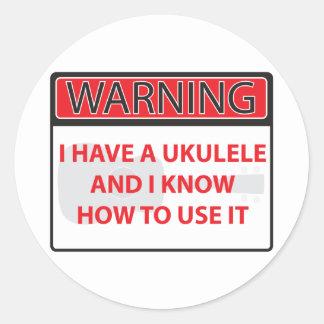 warnend habe ich einen Ukulele 2000Warning, das Runder Aufkleber
