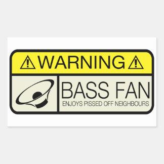 Warnender Bass-Fan! Rechrteckaufkleber