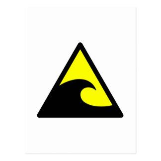 Warnendes Tsunami-Wellen-Zeichen Postkarte