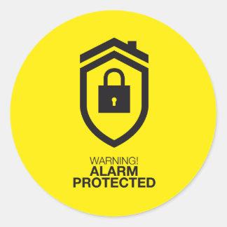 Warning! Alarm Protected Runder Aufkleber