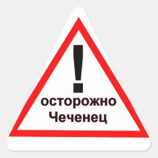 Warning Chechen! Dreieckiger Aufkleber