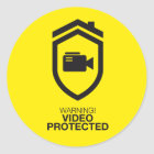 Warning! Video Protected Runder Aufkleber